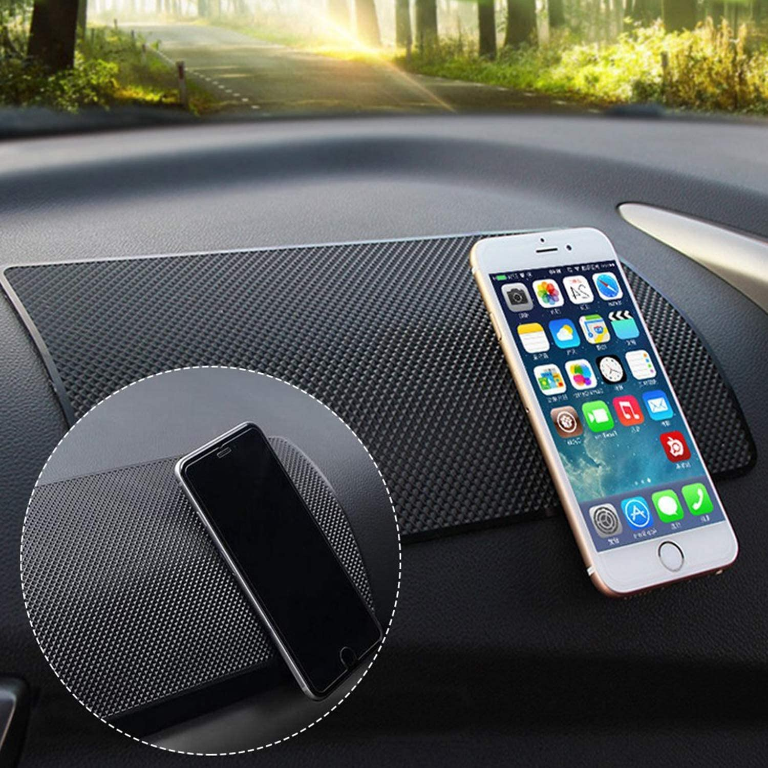 Sunglasses Electronic Devices CD USAMS 2Pack 11 x 6 inch Super Sticky Car Dashboard Anti Slip Mat Magic Anti Slip Mat Car Dashboard Sticky Pad Adhesive Mat for Cell Phone Keys