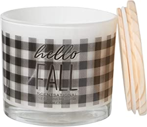 """Scentsational from The Harvest Collection """"Hello Fall"""" Organic Soy and Coconut Blend Autumn Harvest Candle with Wood Lid - 3-Wick, 26 oz."""