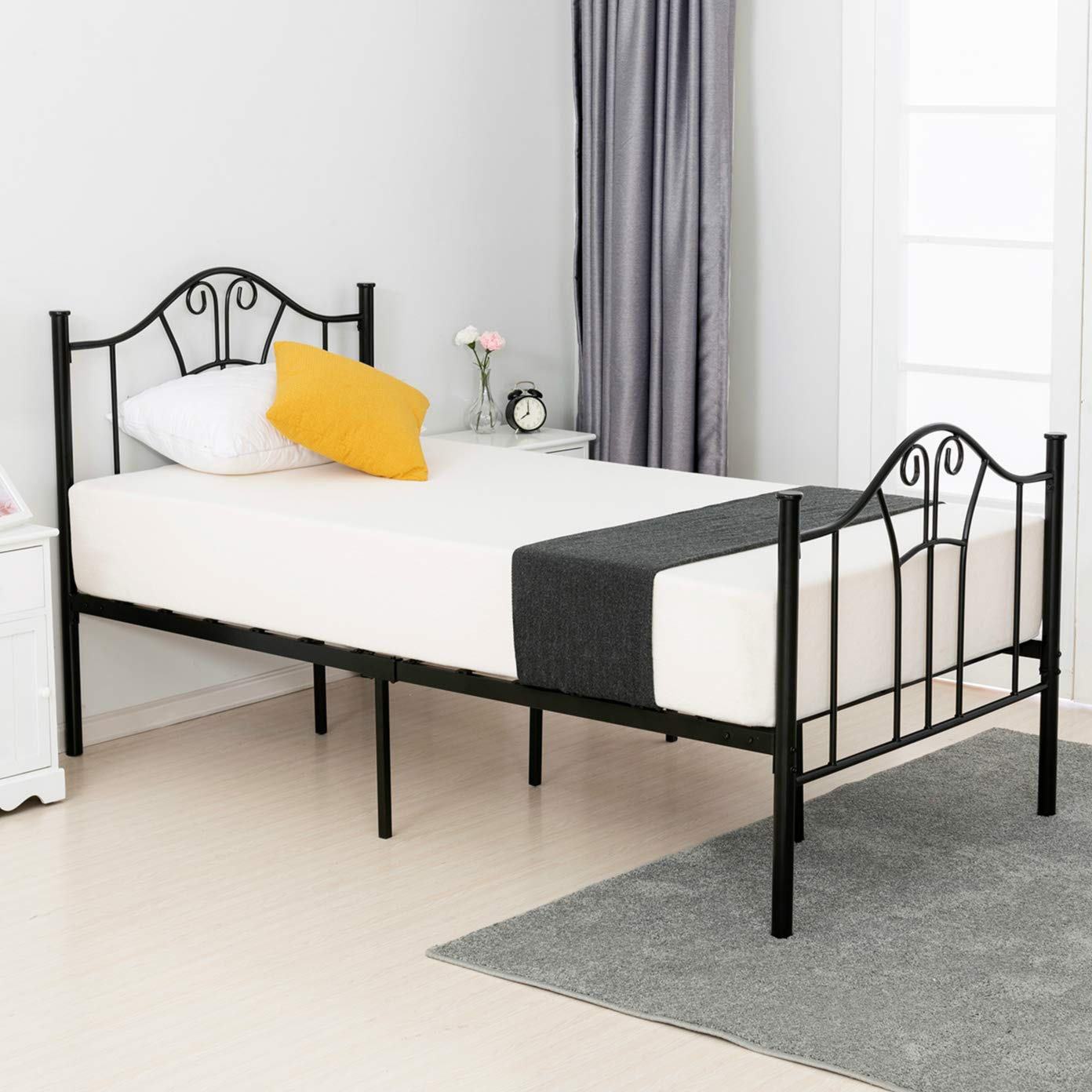 mecor Metal Twin XL Bed Frame, Platform Bed with Curved Steel Headboard Footboard, with Durable Metal Slat Support,No Box Spring Needed, Twin XL Size, Black