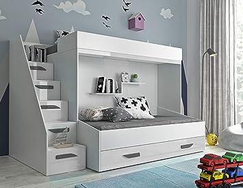 Etagenbett Weiß Kinder : Sam kinder etagenbett ritter i weiß gerade massiv buche