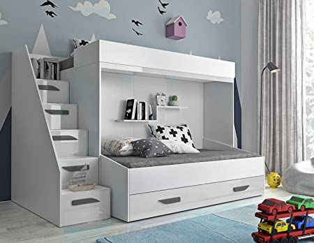 Etagenbett Kinder Mit Treppe : Furnistad etagenbett für kinder alfa doppelstockbett mit treppe