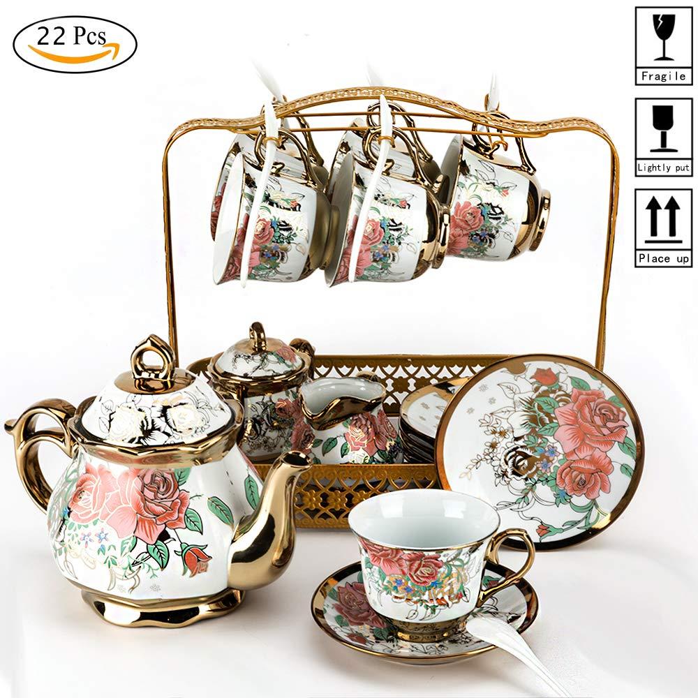 22PCS European retro ceramic tea set ceramic coffee pot ceramic teapot/coffee/afternoon tea/tea set adult
