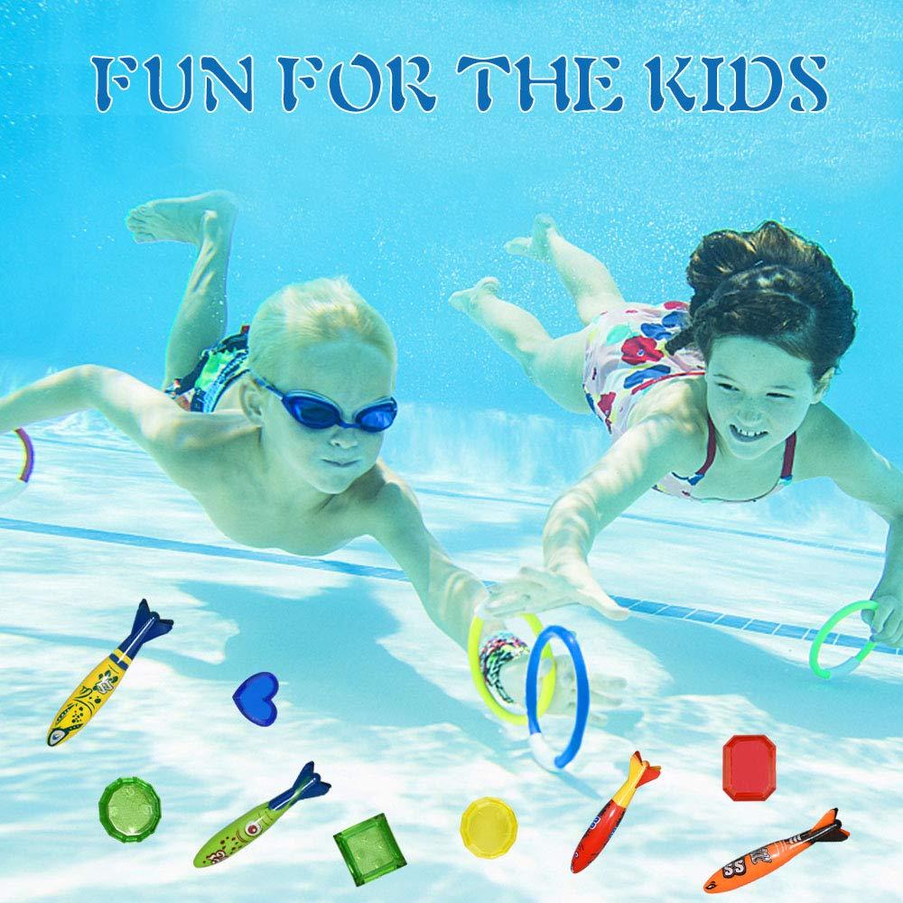 Juguetes de Piscina para ni/ños SOKY Juguetes de nataci/ón para ni/ños 19PCS con Anillos de Buceo Set