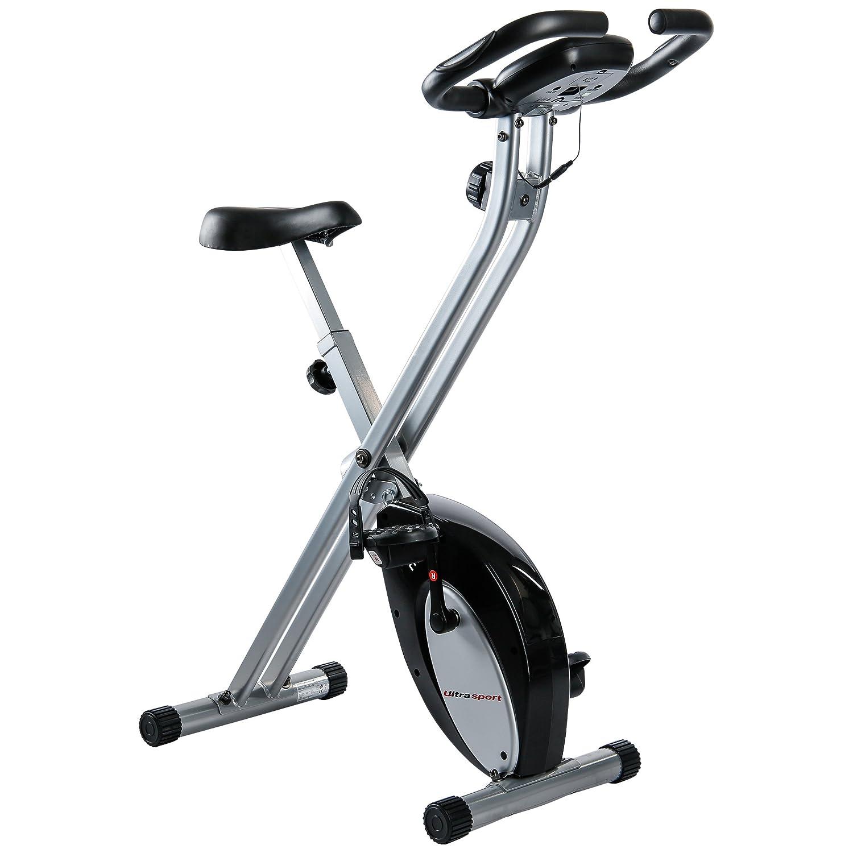 aparato doméstico, bicicleta fitness plegable con consola y sensores de pulso en manillar, Negro/Plata