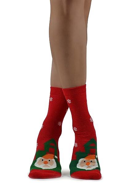 Novedad de las mujeres Papá Noel rojo lindo con la barba mullida y calcetines verdes de