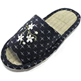 KNP26809T-Jpanese Indoor Bamboo Tatami Women Slippers with Flower