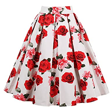 c927355909 SheIn Women's Casual Floral Print Vintage Box A-Line Pleated Midi Skirt  Small White: Amazon.in: Clothing & Accessories