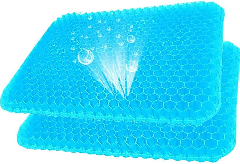 VIVILINEN Cojín de Gel Multifuncional, Cojín de Apoyo de Asiento de Silla de Alta Elasticidad, Fresco y Transpirable, para aliviar la Fatiga de la Cadera (Azul*2)