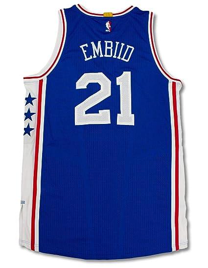 76ers Joel Embiid Game Used Blue Adidas Road Jersey w Photo Match    Fanatics - 98e60c95b