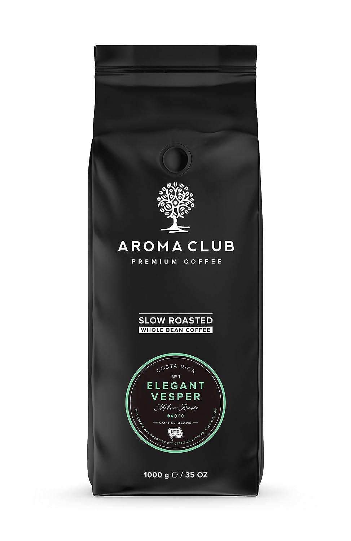 Aroma Club Café en Grano 1 kg - Medium Roast Elegant Vesper - Café 100% Arábica Costa Rica Tueste Lento - Certificación UTZ y Carbono Neutro: Amazon.es: ...