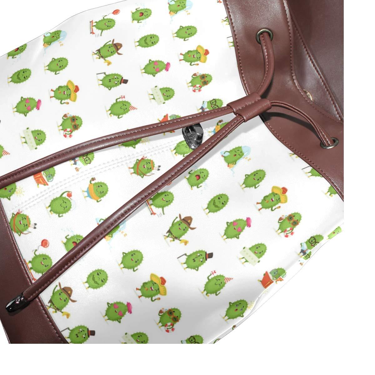 Leather Cute Cactus Cartoon Characters Backpack Daypack Bag Women