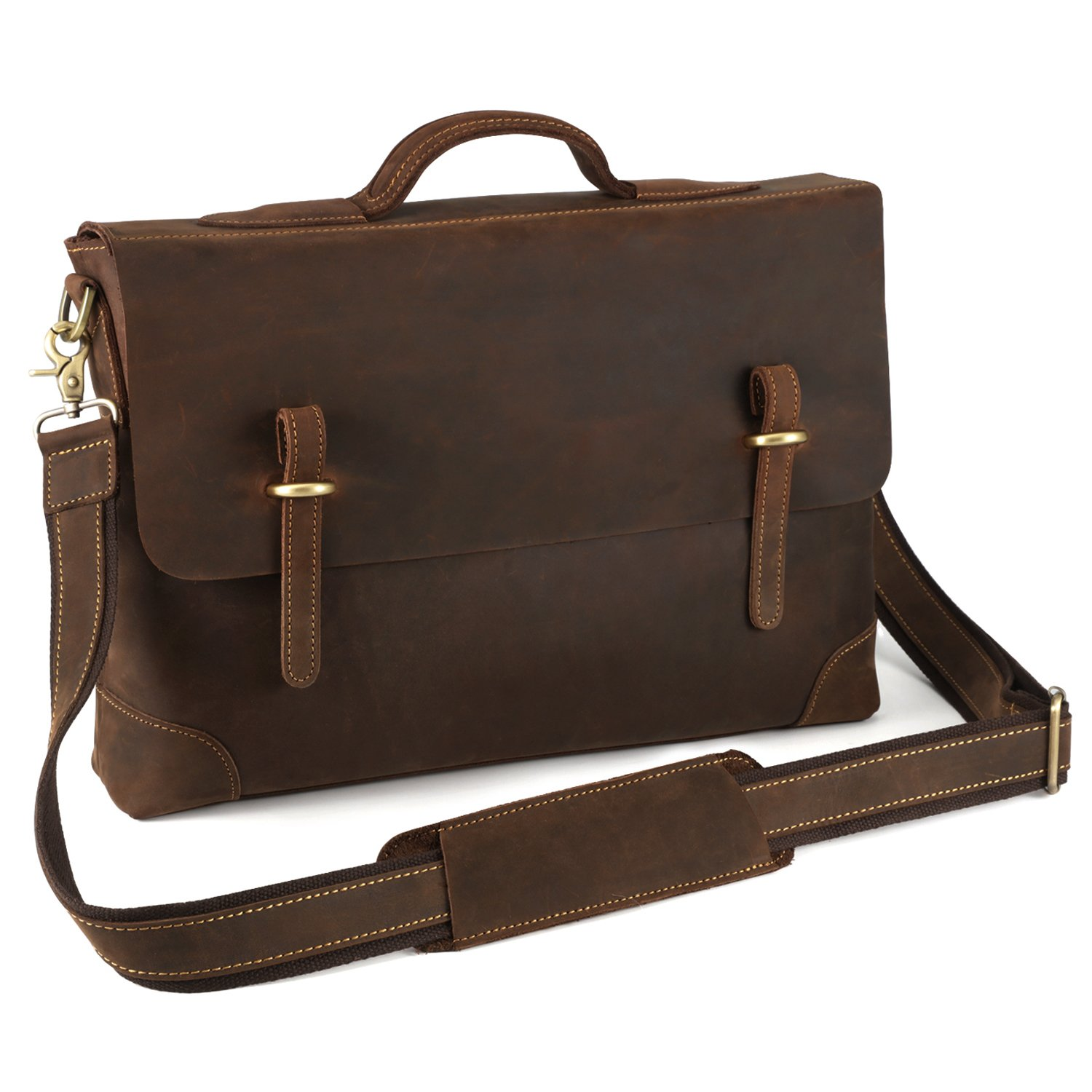 Kattee Genuine Leather Messenger Bag Tote, Leisure 15 Inch Laptop Briefcase Dark Coffee by Kattee (Image #3)