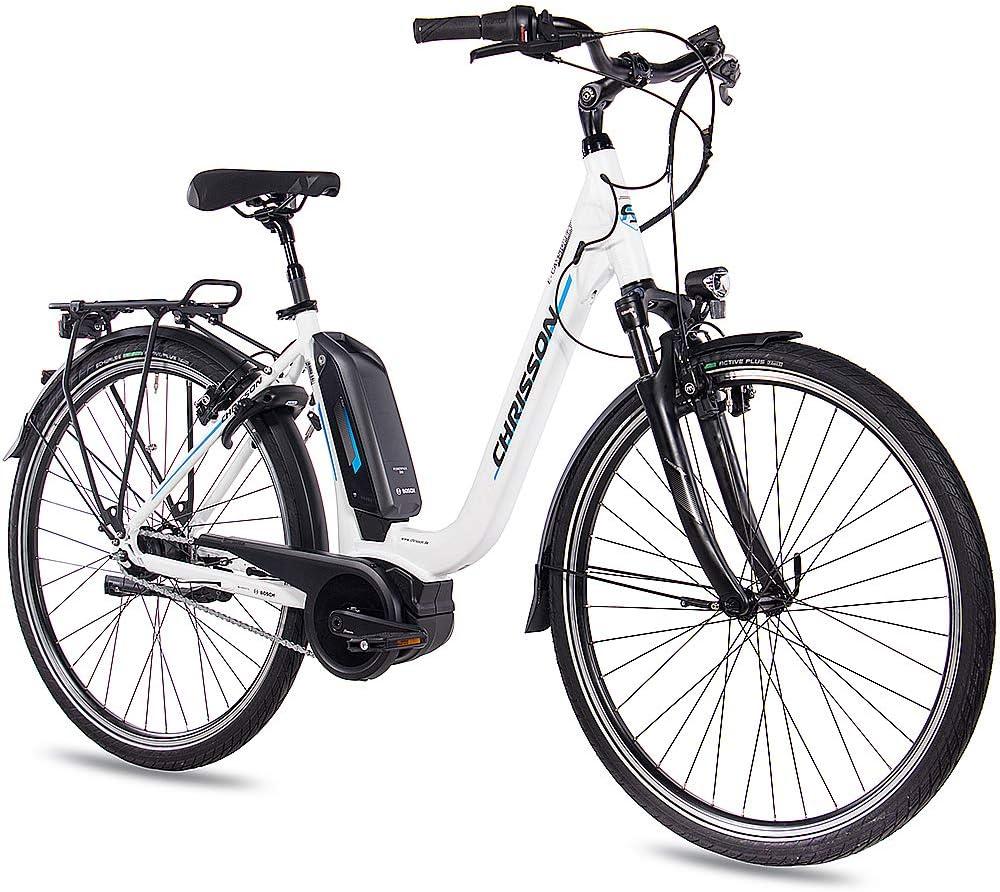 CHRISSON Bicicleta de trekking y ciudad para mujer, 28 pulgadas, E ...