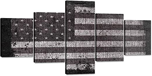 Amazon Com Black And White Painting On Canvas Retro American Flag