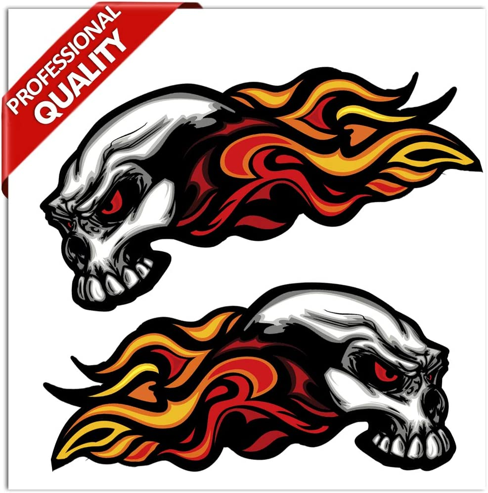 2 x Vinyl Stickers Skull Head Fire Flames Scary Horror Decals Car Motorcycle Helmet B 35