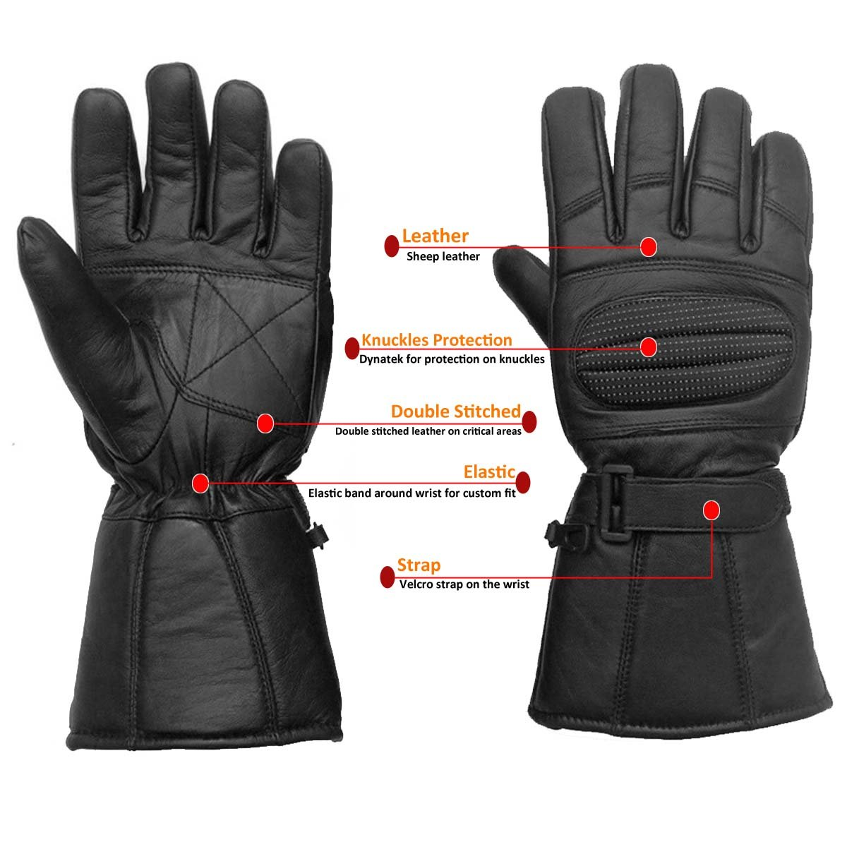 Motorcycle leather gloves amazon - Amazon Com Leather Gloves Gauntlet For Biker Motorcycle Scooter Heavy Duty Winter Black L Automotive
