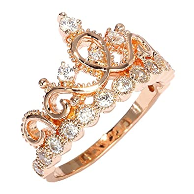 Amazon Sterling Silver Princess Crown Ring Rose Gold Plated