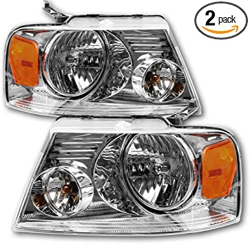 JSBOYAT Headlight Assembly Replacement for 04-08 Ford F150 Pickup Headlamp with Chrome Housing Passenger and Driver Side