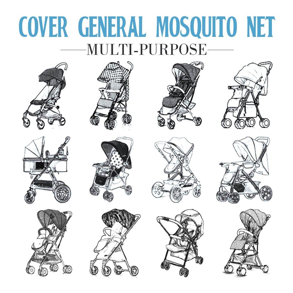 colores marr/ón protecci/ón ideal contra avispas y mosquitos resistente y lavable cuna de viaje HUABEI Mosquitera Cochecito Beb/é silla de paseo