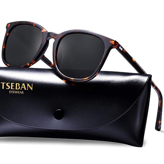 27ca53e127 TSEBAN Polarisées Lunettes de Soleil Femme Vintage UV400 Protection Unisex  Pour Sports de Plein, Conduite