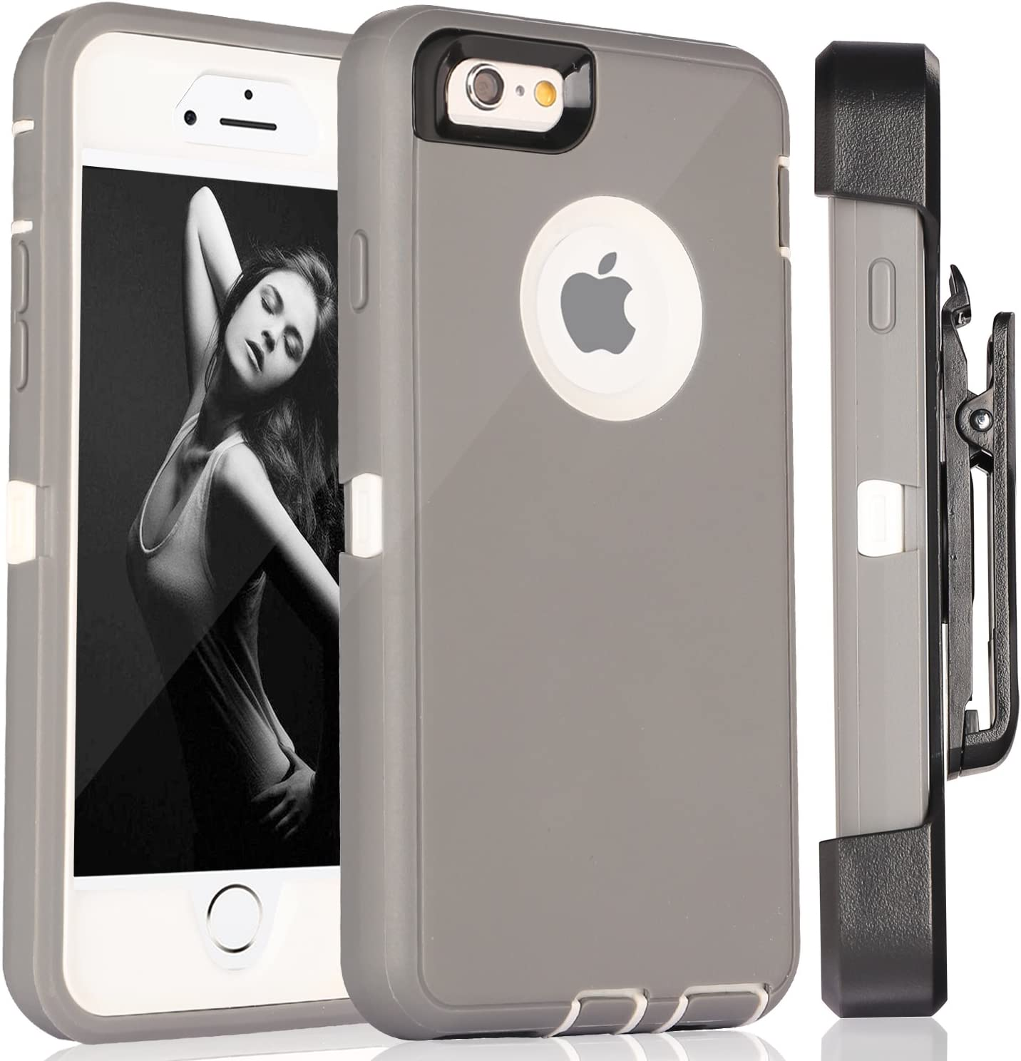 iPhone 6 Case, Fogeek Heavy Duty PC + TPU Combo Protective Case for iPhone 6/6S w/ 360 Degree Rotary Belt Clip & Kickstand (Light Grey/White)