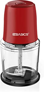 EZBASICS Food Processor, Small Electric Food Chopper for Vegetables, Meat, Fruits, Nuts, 2 Speed Mini Food Grinder With Sharp Blades, 2-Cup Capacity, Red