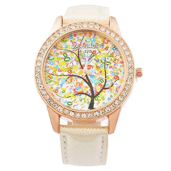 mjartoria Mujer Reloj De Pulsera Reloj de cuarzo bisutería PU pulsera de piel patrón de diseño