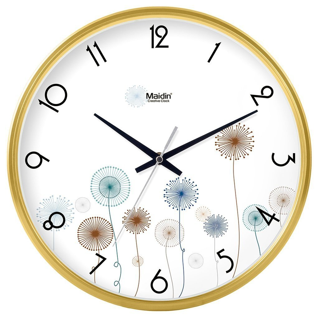 掛け時計 リビングルームのオフィスキッチンのためのモダンな壁時計大装飾ユニバーサルサイレント屋内クォーツラウンドウォールクロック (色 : ゴールド, サイズ さいず : 14 inch) B07DRJJX58 14 inch|ゴールド ゴールド 14 inch