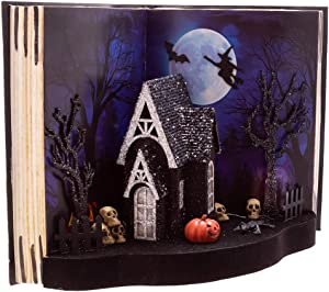 Kurt S. Adler Kurt Adler 11.5-Inch Battery-Operated Ghost House Book Light-Up Table Piece, Multi