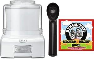Cuisinart ICE-21 Frozen Yogurt Ice Cream and Sorbet Maker (White) with Non Stick Ice Cream Scoop and Ben & Jerry's Homemade Ice Cream & Dessert Book Bundle (3 Items)