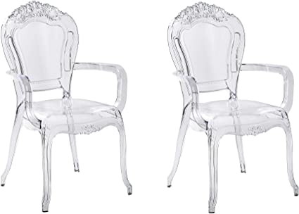 Beliani Set Of 2 Modern Transparent Dining Chairs Clear Acrylic Stackable Vermont Ii Beliani Amazon Co Uk Kitchen Home