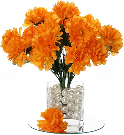 Amazon Com Balsacircle 84 Orange Silk Chrysanthemums 12 Bushes