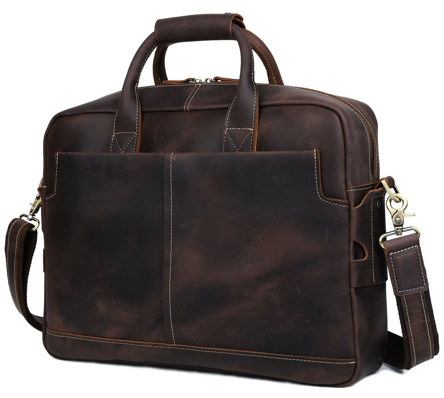 BAIGIO Men Retro Leather Briefcase Laptop Computer Office Business Shoulder Tote Messenger Bag (Dark Brown)