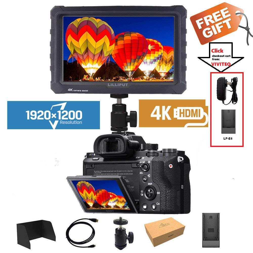 LILLIPUT A7S 7' 1920x1200 IPS Screen Camera Field Monitor 4K HDMI Input Output Video for DSLR Mirrorless Camera Sony A7S II A6500 Panasonic GH5 Canon 5D Mark IV DJI Ronin M Black case Exclusively A7S BLACK