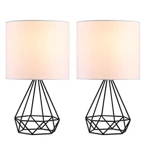 CO-Z Modern Table Lamps for Living Room Bedroom Set of 2, Black Metal Desk Lamp with Hollowed Out Base and White Fabric Shade, 16'' Bedside Lamps for Farmhouse Nightstand Accent.