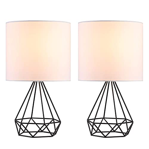 CO-Z Modern Table Lamps for Living Room Bedroom Set of 2, Black Metal Desk Lamp with Hollowed Out Base and White Fabric Shade, 16 Inches Bedside Lamps for Farmhouse Nightstand Accent. Black