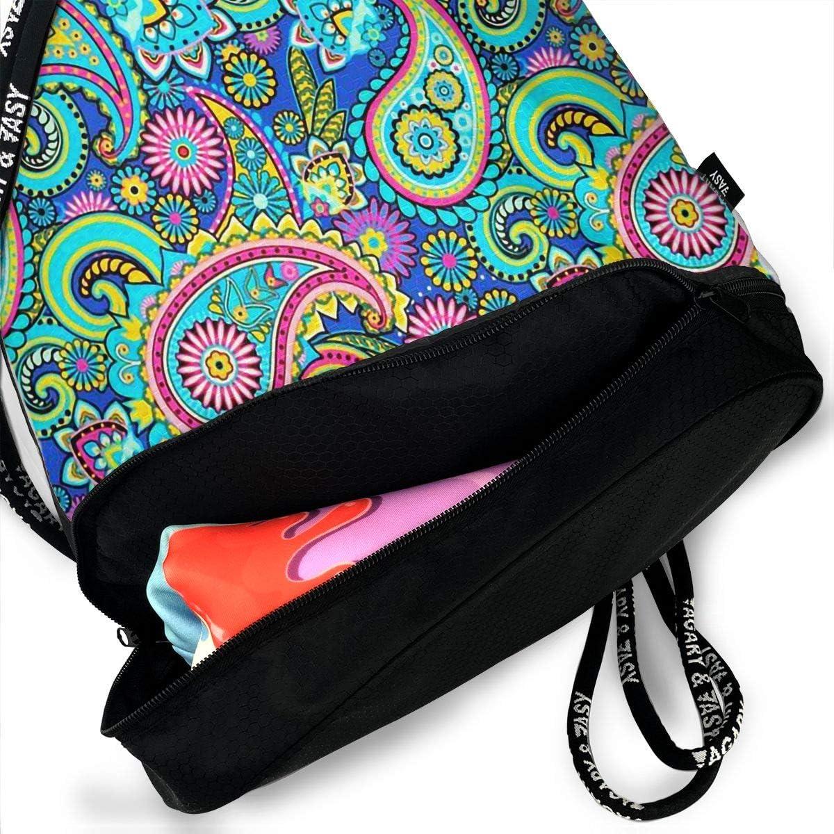 Drawstring Backpack Paisley Gym Bag