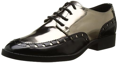 Mocasines Mujer Negro y Bronce uñas Cordones: Amazon.es: Zapatos y complementos