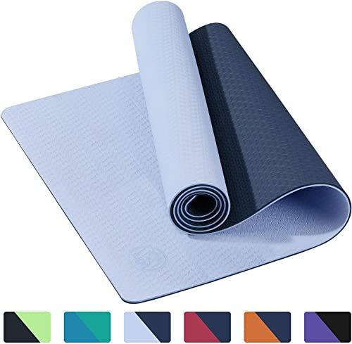 IUGA Yoga Mat Non Slip Textured Surface, Reversible Dual Color, Eco Friendly Yoga Mat with Carrying Strap, Thick Exercise Workout Mat for Yoga, Pilates and Fitness 72 x 24 x 6mm