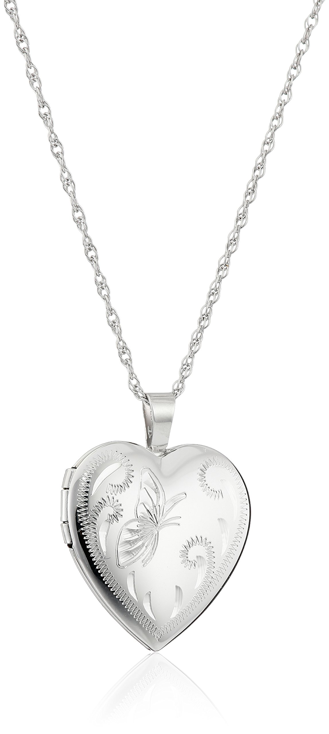 Sterling Silver Heart with Hand Engraved Butterfly Locket Necklace, 18'' by Amazon Collection