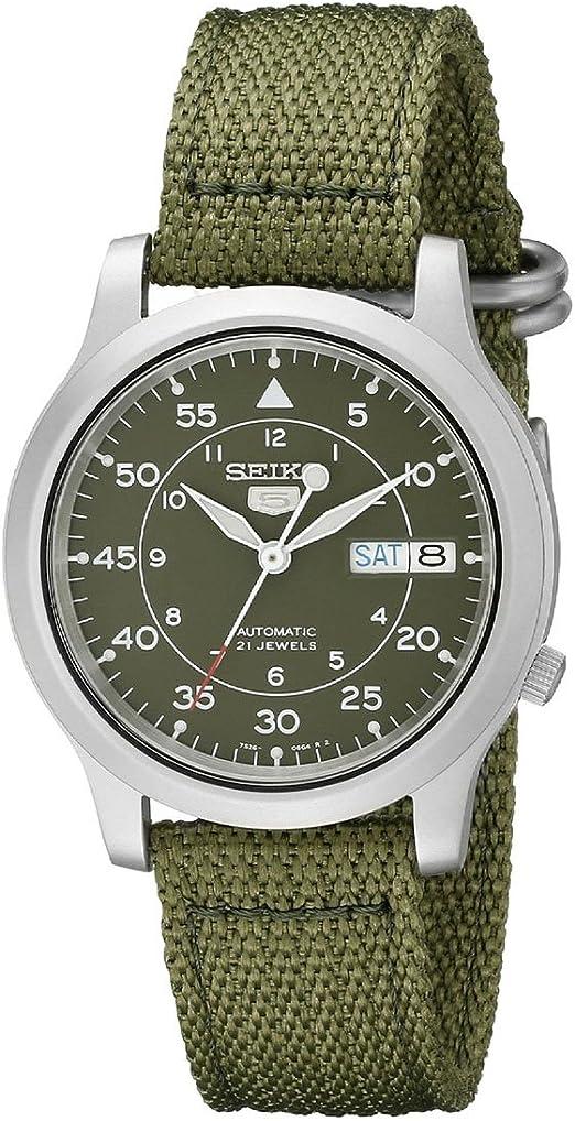 Amazon.com: SEIKO Men's SNK805 SEIKO 5 Automatic Stainless Steel Watch with Green  Canvas: Seiko: Watches