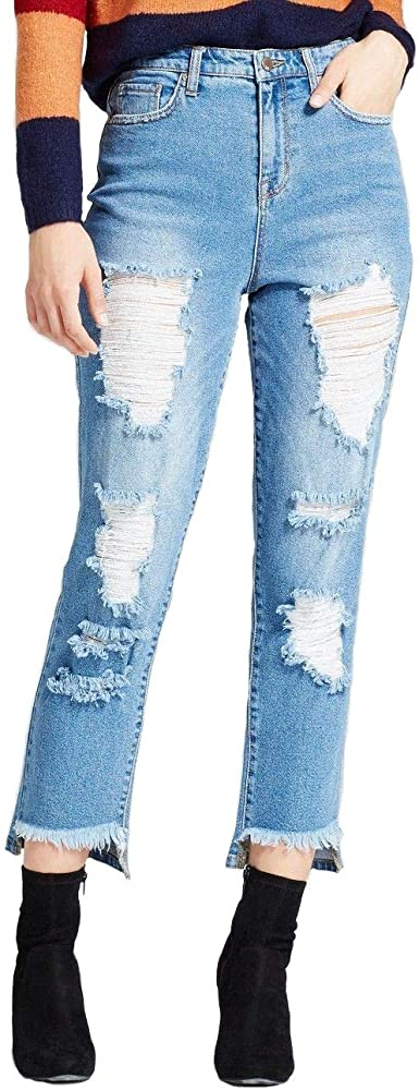 Mossimo Women S Straight Leg Mom Jean Super Destroyed Medium Wash 0 25 R At Amazon Women S Jeans Store