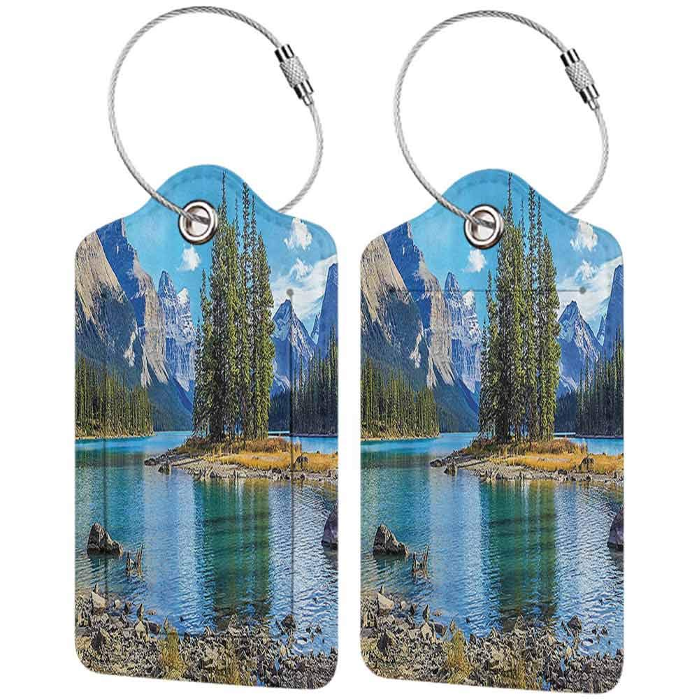 Small luggage tag Lakehouse Decor Collection Scenery of Spirit Island on Maligne Lake Canada in a Summer Time with Mountains Image Quickly find the suitcase Green W2.7 x L4.6