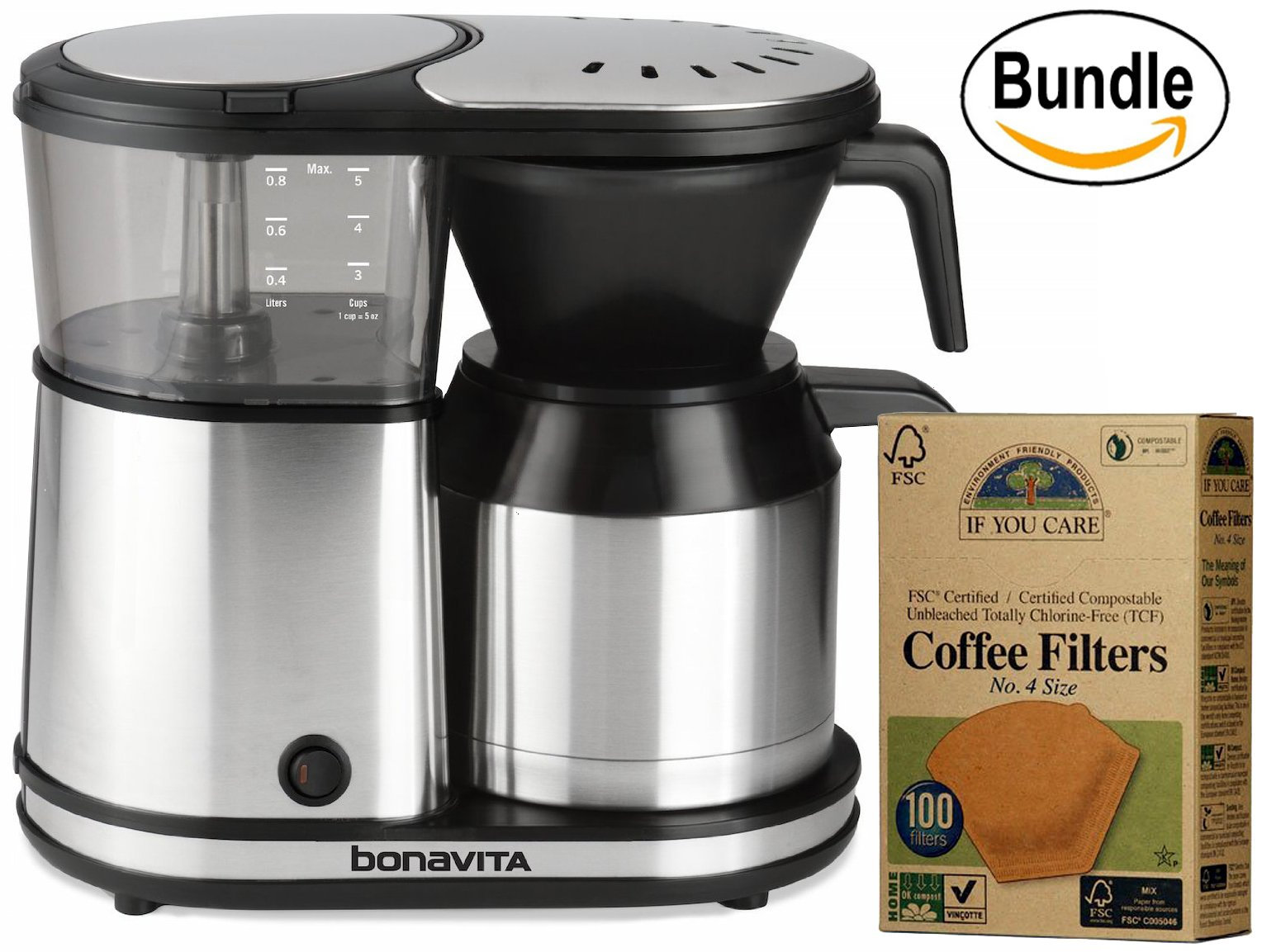 Bonavita BV1500TS 5-Cup Carafe Coffee Brewer & If You Care Coffee Filters, No. 4, 100 count. (Bundle)