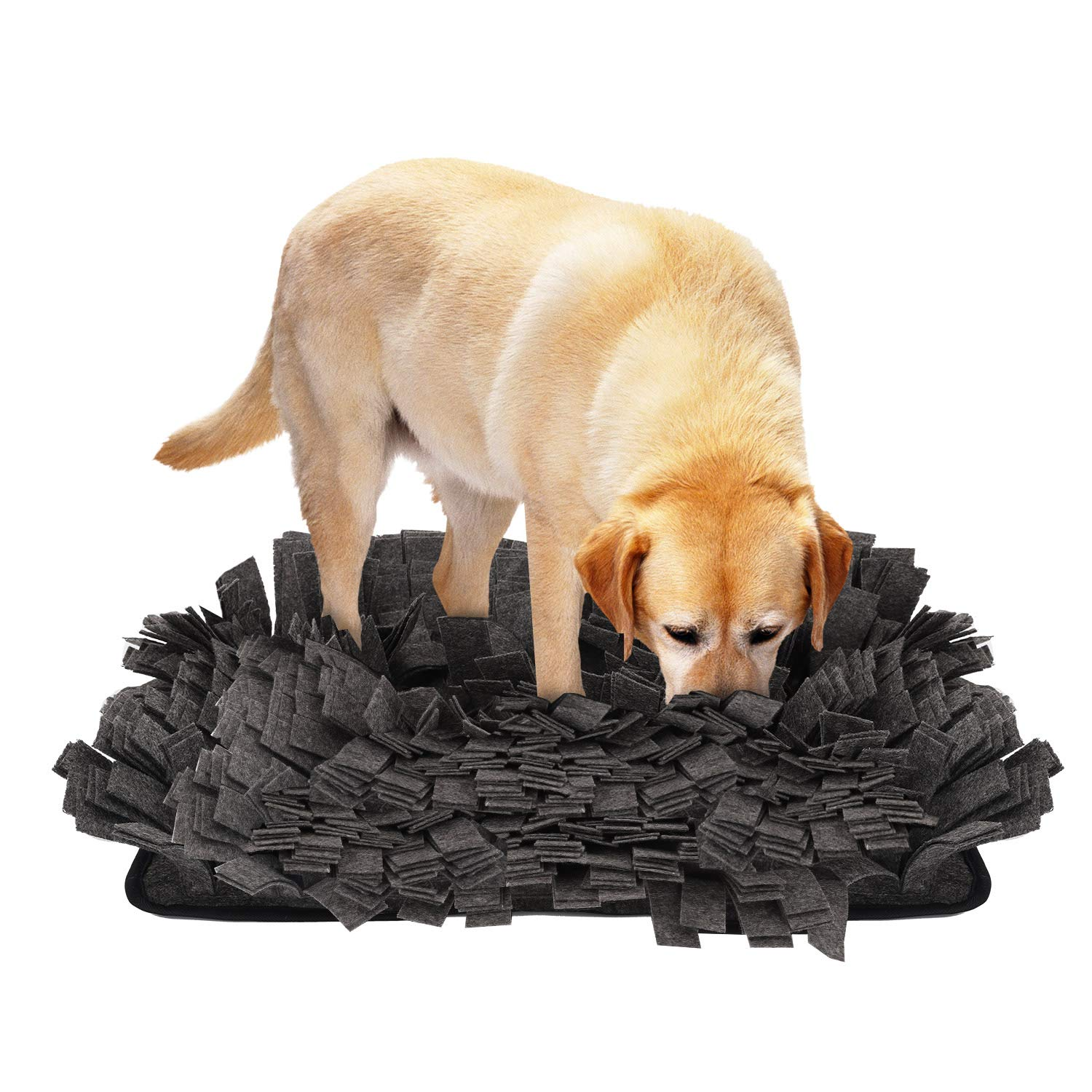 PAWABOO Dog Snuffle Mat, 17.3'' x 12.6'' Premium Foldable Dog Nosework Mat Slow Feeding Mat Dog Training and Feeding Mat Dog Play Mat for Small, Medium and Large Dogs, Gray