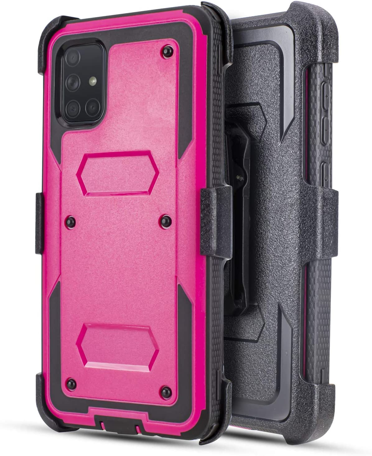 Customerfirst Samsung Galaxy A51 Case (Does NOT FIT A50) Built-in [Screen Protector] Heavy Duty Holster Cover [Belt Clip][Kickstand] (Bright Pink)