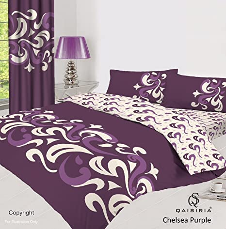 Chelsea Purple Bedding Set Duvet Cover With Matching Fitted /& Sheet Pillow Cases