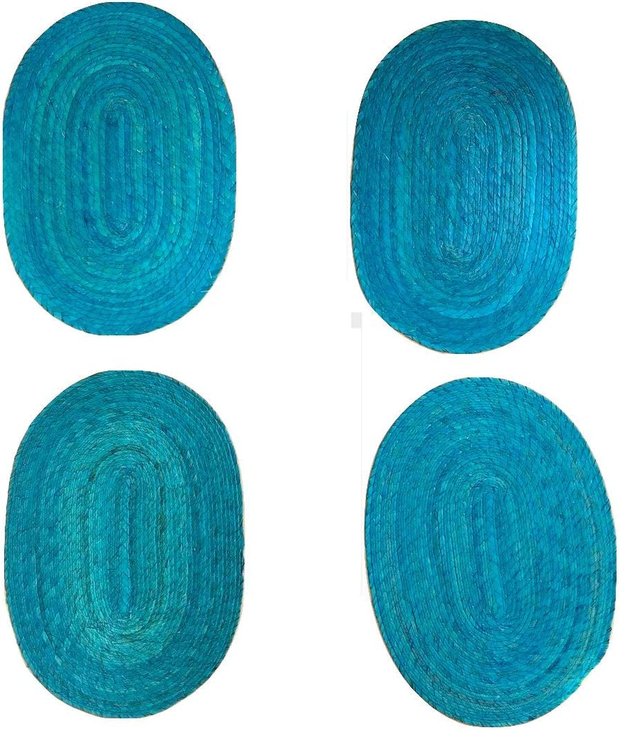Mantel Ovalado Turquesa Casa Fiesta Designs Turquoise Placemats Eco-Friendly Easy to Clean Handmade Great for Dining Table//Kitchen Indoor//Outdoor use Set of 4 Woven Braided and Reversible Mexican Style