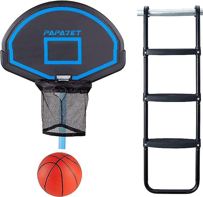 PAPAJET Wide 3-Step Trampoline Ladder and Universal Trampoline Basketball Hoop - Safety