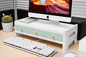 MOOCHI Minitor Riser with Drawers - Desk Organizer PC, Laptop, Notebook, Keyboard, ABS Material